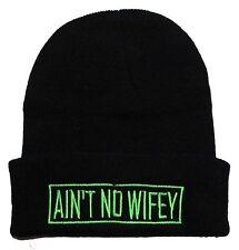 TRENDY COOL HIP CUFFED AIN'T NO WIFEY BEANIE HAT SKULL CAP BLACK/NEON GREEN