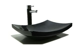 LUXURY Black Stone Marble Gloss basin sink wash bowl Bathroom UK 48cm large