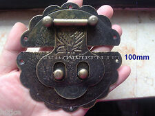 """One Piece antqiue brass color 4"""" big size leather chest hasp for box making"""