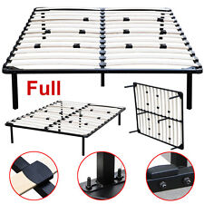 Full Size Wood Slats Metal Bed Frame Platform Bedroom Mattress Foundation Base