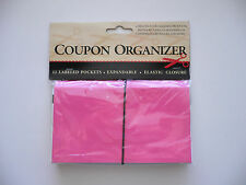 Pink Coupon Organizer Holder 12 Labeled Pockets Expandable Bn
