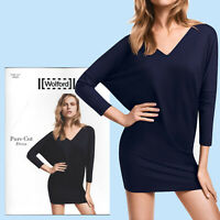 Wolford Pure Cut Dress - M - sapphire blue . weich fließendes Kleid V-Ausschnitt
