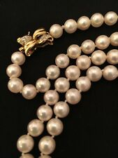 """Akoya Natural Cultured White Pearl Necklace 6-8mm 28"""" Grade AAA - 14K & Diamonds"""