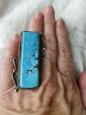 MASSIVE VINTAGE OLD PAWN NAVAJO NATIVE AMERICAN INDIAN TURQUOISE RING sz 12.5