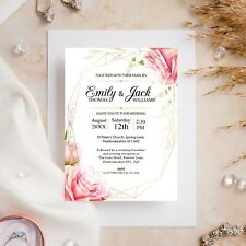10 Wedding Invitations Day/Evening Floral Pink Rose Geometric Ivory or White