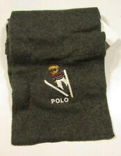 Polo Ralph Lauren Men's Dark Granite Charcoal Gray Polo Ski Bear Scarf