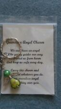 HANDCRAFTED GUARDIAN ANGEL CHARMS KEYRING BAGCHARM TEACHER GIFT GREEN