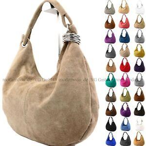 Damen Schultertasche ital. Handtasche Shopper aus Wildleder Groß 20T