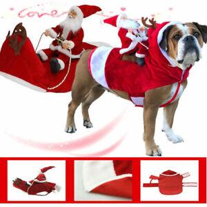 New Christmas Santa Claus Pet Dog Fancy Dress Jacket Coat Costume Outfit Clothes