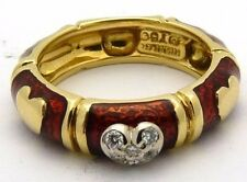 Valentine's Day Hidalgo 18K Yellow Gold Red Enamel and Diamond Heart Band Size 7