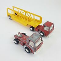 Vintage Lot 2 1970 TootsieToy Semi Truck Car Hauler - Made In USA Trailer Red