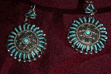 Native America ZUNI Sleeping Beauty SS & Needle Point Turquoise Cluster Earrings