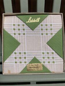 Vintage Irish Linen Liddell Tablecloth and 4 Napkins Unused In Box Green & Cream