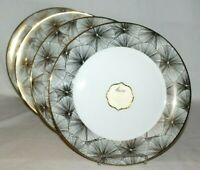 """Ciroa Luxe Gold Metallic Quality Porcelain 10 3/4"""" Dinner Plates Set of Four New"""