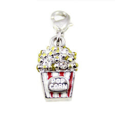 Movie Cinema Popcorn Film Lover Food Bracelet Crystal Charm Silver plated