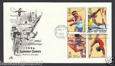 Summer Olympics 1996 Usps First Day Cover & 4 32c Commemorative Stamps Track
