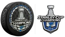 2019 STANLEY CUP CHAMPIONS PUCK & ST. LOUIS BLUES STICKER SEE STORE PATCH PINS