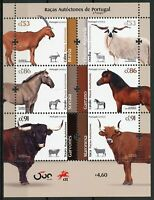 Portugal Farm Animals Stamps 2020 MNH Autochthonous Breeds Horses Cows 6v M/S