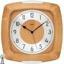 AMS 5804/18 Wanduhr Funkuhr buche massiv Uhren-neu