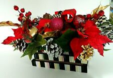 Christmas Floral Arrangement in Wood crate, & Mackenzie Childs Bow!