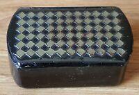 Treen papier mache vintage Victorian antique grid design snuff box
