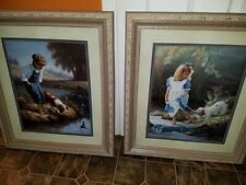 "Home Interiors Boy & Girl Picture Set 29"" X 25"" Big & Very Heavy"
