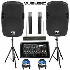"""Complete Professional 4500W PA System 8-CH Mixer 2pc 15"""" Speakers Wireless Mics"""