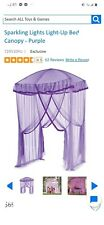 """HearthSong 58"""" L X 50"""" W Sparkling 30-LED Lights Light-Up Canopy Purple"""
