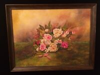 Framed Signed Hintz Thibaudeau Oil Painting Floral Roses Retro Still Life VTG