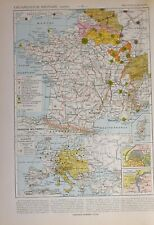 1913 MAP FRANCE MILITARY ORGANIZATION CAMPS PARIS LYON GERMANY AUSTRIA HUNGARY