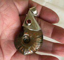 Rainbow Ammonite 925 Silver Pendant of Large Fossil and Garnet Chamber Nautilus
