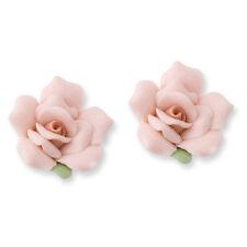 Pink Porcelain Rose Stud Post Earrings Silver Tone Push Back 1928 Boutique