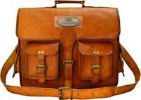 Men's Vintage Leather Different Sizes Messenger Shoulder Laptop Bag Briefcase