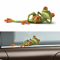 Green Lovely 3D Funny Car Stickers Lying Frog Wall Truck Window Decor Sticker 1X