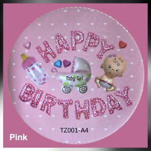 New Happy Birthday Foil Balloon Letters Figures Baby Girl Pink First Birthday