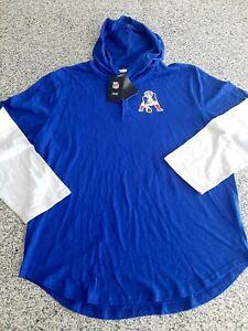 New England Patriots Nike Throwback Mascot Henley Hoodie T-Shirt NWT Mens 2XL