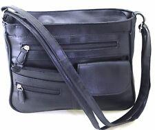 Faux Leather Handbag Shoulder Bag Cross Body Long Shoulder Strap 2 Compartments
