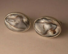 Vintage Real Abalone Shell Sterling Silver Hand Made Cufflinks Oval NICE!