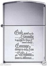 Serenity Life Changing Prayer Engraved Polished Chrome Zippo Lighter