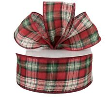 """NEW 5 Yds x 2.5"""" Wide Wired Ribbon Red, Green White Plaid"""