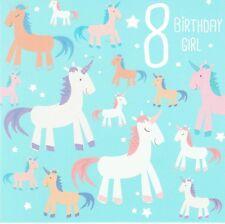 UNICORN - Age 8 BIRTHDAY GIRL 8th Birthday Card  Unicorns Design
