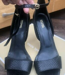 Michael Kors Bethany Platform Open Toe Leather Heels Shoe
