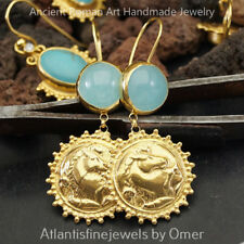925 Silver Blue Chalcedony & Horse Coin Earrings Sun Collection 24k Gold Plated