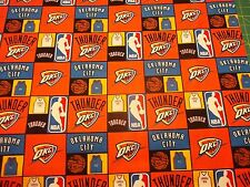 Oklahoma City Thunder 100% Cotton New! Multi Color Squares 1/2 Yd Piece Nba