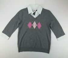 TWO HEARTS MATERNITY GRAY SWEATER FAUX COLLAR ARGYLE SIZE MEDIUM