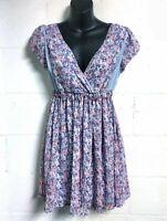 Princess Vera Wang Blue Purple Floral Dress Short Sleeve V Neck Size S