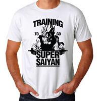 Dragonball Z Training Super Saiyan Japanese Anime Gym Workout White T-Shirt