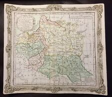 RARE Ornate 1766 LITHUANIA Colored MAP Duchy Prussia Baltic Louis Brion Litauen