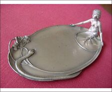 WMF Art Nouveau Visiting Card Tray Silver Plated Nude