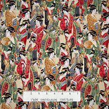 Imperial Fabric - Packed Metallic Japanese Geisha - Robert Kaufman YARD